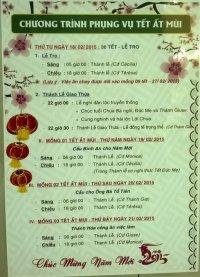 Giờ Lễ Tại Giáo Xứ Tân Thái Sơn Tết Ất Mùi 2015
